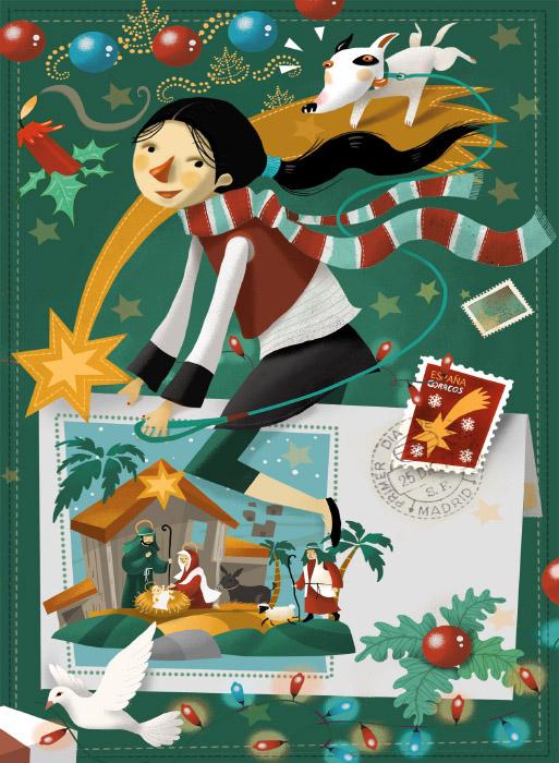 Postal navideña · Correos